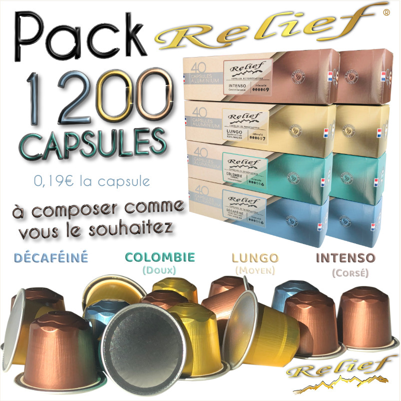 Pack Relief 1200 capsules à 0.19 € la capsule