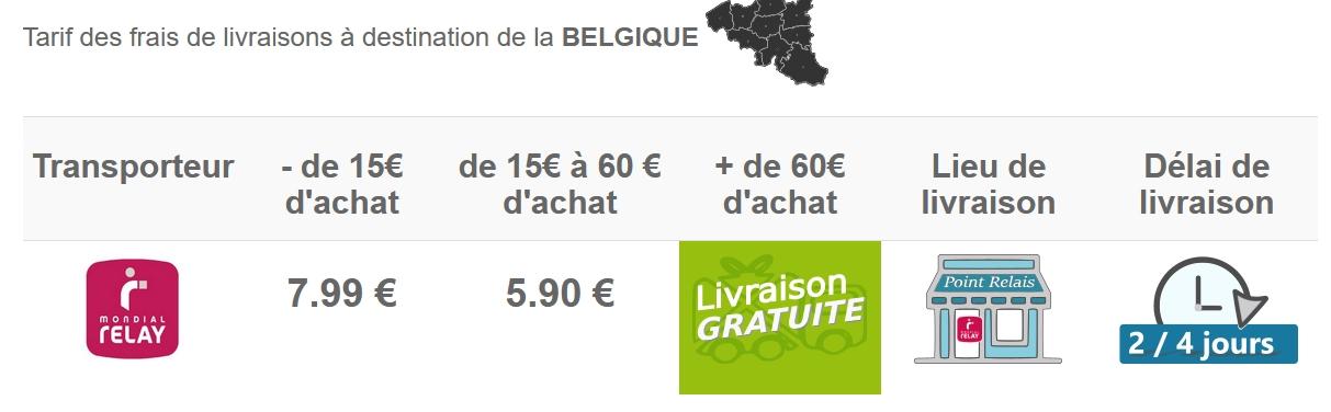 Tarif livraison en belgique