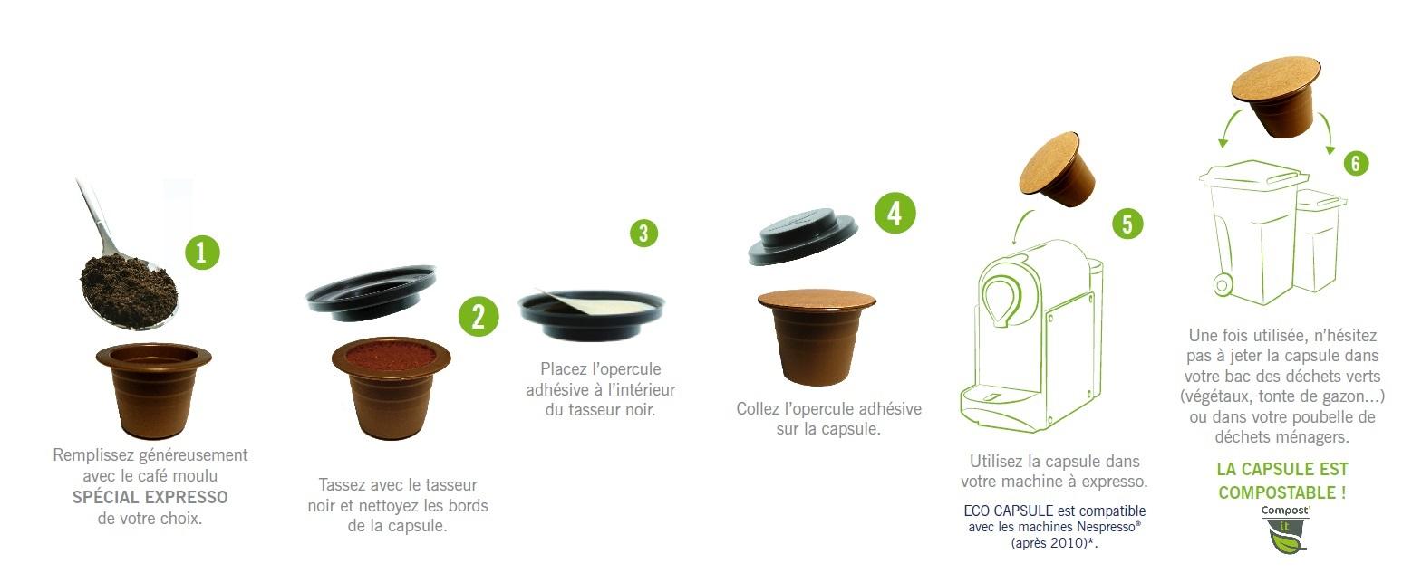Eco capsules biodégradables de végéplast compatibles avec les cafetières Nespresso ®