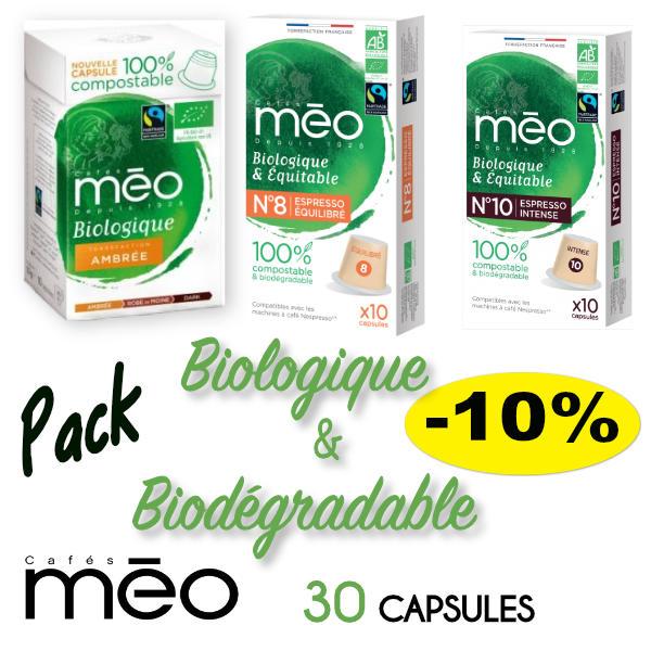Pack de capsules bio compatibles Nespresso des cafés Méo